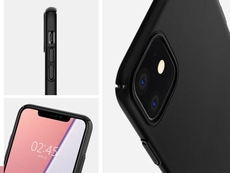 Etui Spigen Thin Fit Air do Apple iPhone 11 Black + Szkło Alogy
