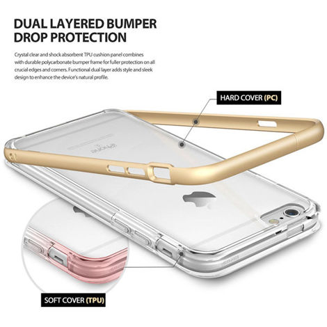 Etui ringke fusion frame iphone 6 / 6s royal gold + szkło