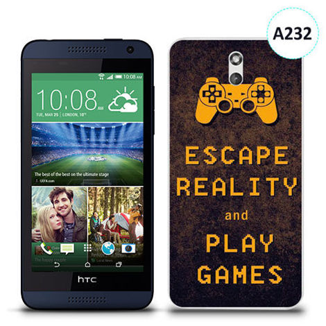 Etui silikonowe z nadrukiem HTC Desire 610 - escape reality and play games