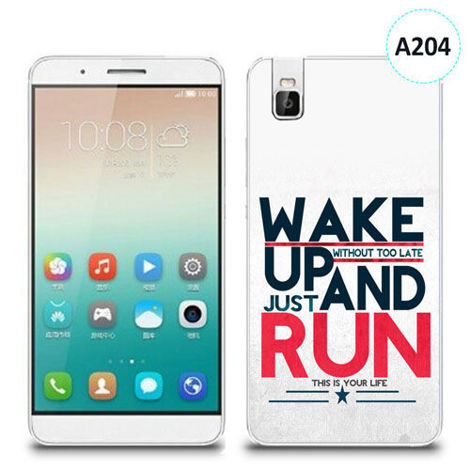 Etui silikonowe z nadrukiem Huawei Shotx 7i - wake up without too late just and run