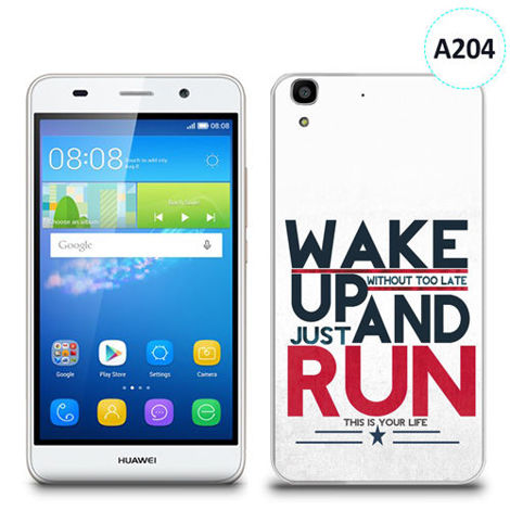 Etui silikonowe z nadrukiem Huawei Y6 - wake up without too late just and run