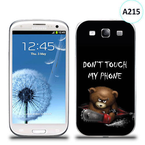 Etui silikonowe z nadrukiem Samsung Galaxy S3 - don't touch my phone bear