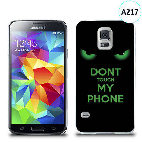 Etui silikonowe z nadrukiem Samsung Galaxy S5 -   don't touch my phone eyes