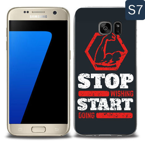 Etui silikonowe z nadrukiem Samsung Galaxy S7- stop wishing start doing