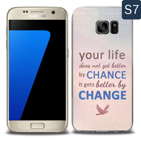 Etui silikonowe z nadrukiem Samsung Galaxy S7- your life doesn't get better by chance