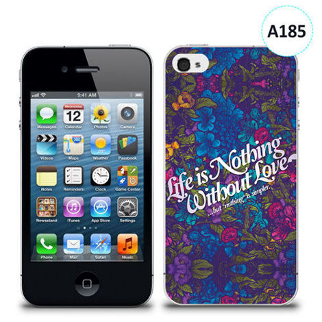 Etui silikonowe z nadrukiem iPhone 4/4S - life is nothing without love
