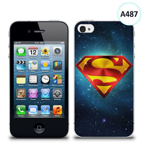Etui silikonowe z nadrukiem iPhone 4/4S - logo superman