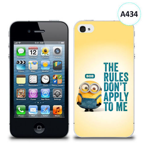 Etui silikonowe z nadrukiem iPhone 4/4S - minion the rules don't apply to me