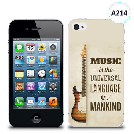 Etui silikonowe z nadrukiem iPhone 4/4S - music is the universal language of mankind