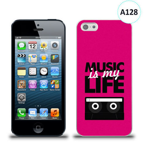 Etui silikonowe z nadrukiem iPhone 5/5s/se - music is my life