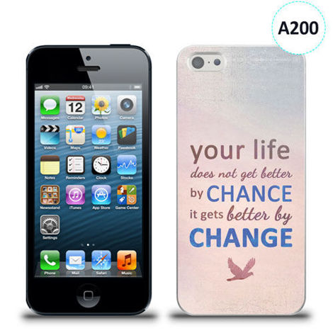 Etui silikonowe z nadrukiem iPhone 5/5s/se - your life doesn't get better by chance