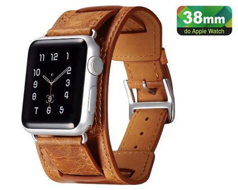Pasek skórzany Icarer 3w1 do Apple Watch 38mm Orange